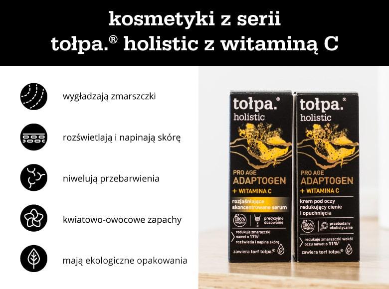 Cechy kosmetyków z serii tołpa.® holistic z witaminą C - infografika