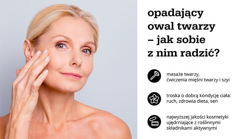 Opadający owal twarzy – jak sobie z nim radzić? Infografika