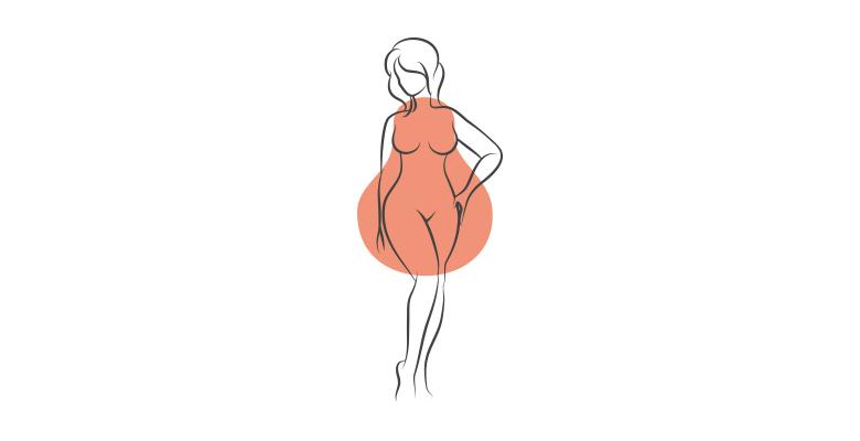 kobieta o sylwetce w krztałcie gruszki