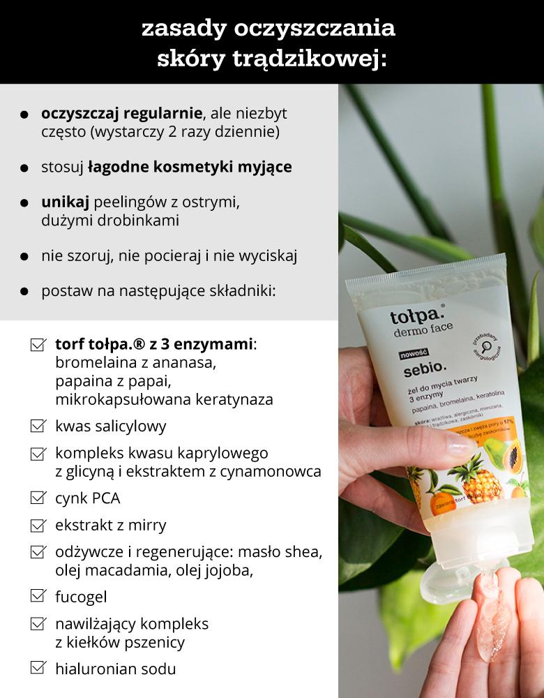 Zasady oczyszczania skóry trądzikowej - infografika