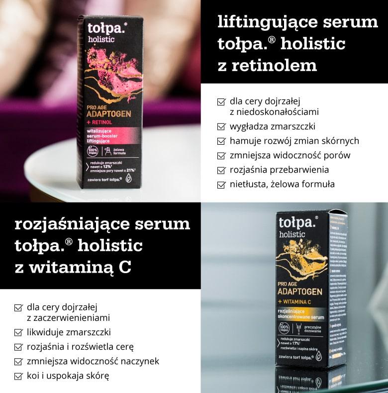 Cechy różnych serum z serii tołpa holistic