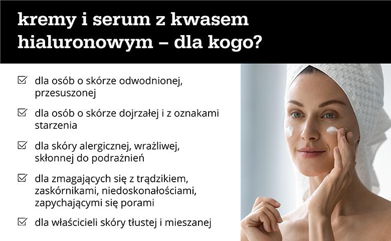 Kremy i serum z kwasem hialuronowym – dla kogo? - infografika