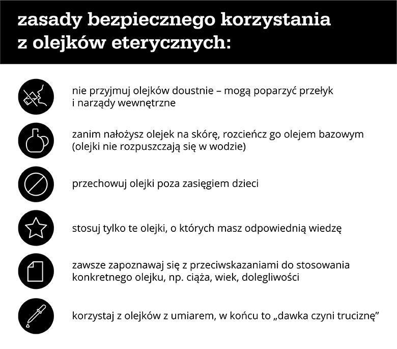 Zasady bezpiecznego korzystania z olejków eterycznych - infografika