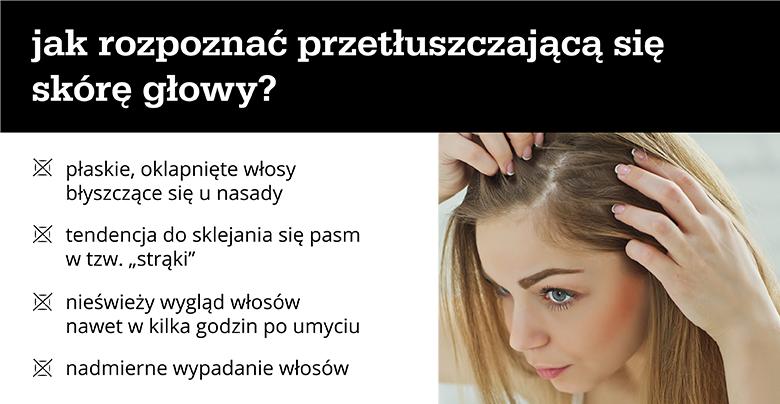 jak rozpoznać przetłuszczającą się skórę głowy? - infografika