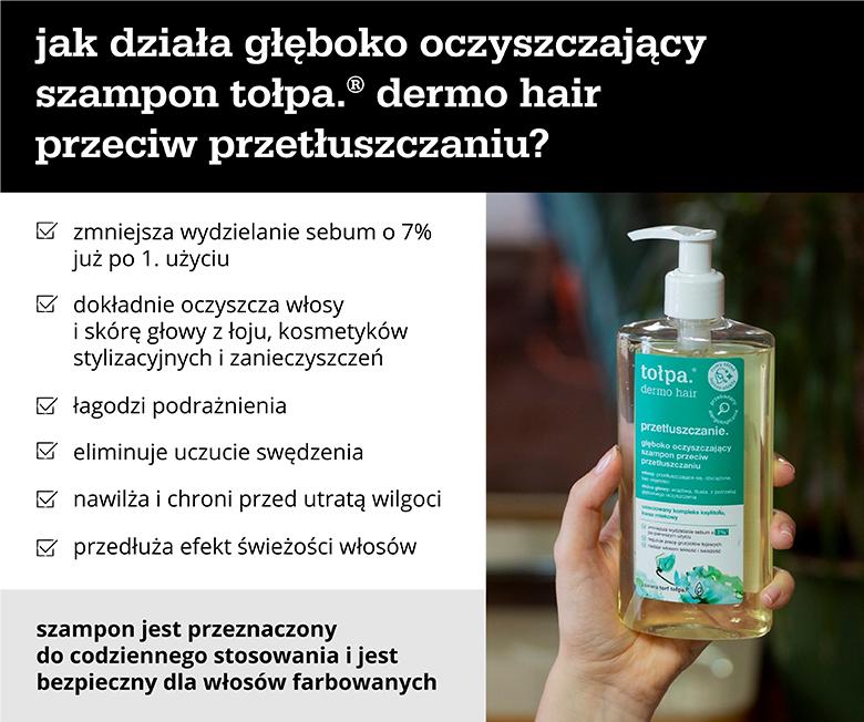 jak działa głęboko oczyszczający szampon tołpa.® dermo hair przeciw przetłuszczaniu? - infografika