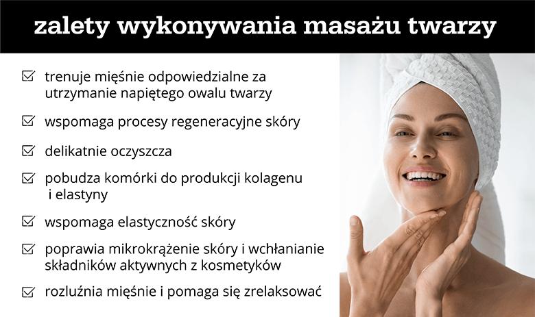 Zalety wykonywania masażu twarzy - infografika