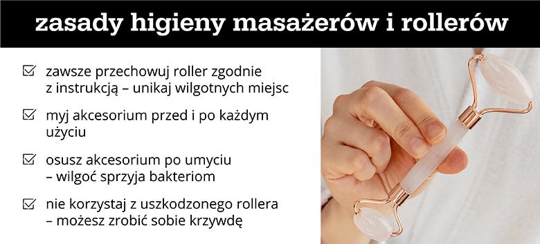 Zasady higieny masażerów i rollerów - infografika